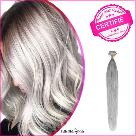 Tissage Gris silver -Tissage Remy hair cheveux raides à partir de 24 Pouces