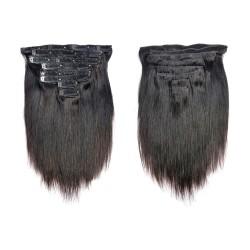 Extension cheveux Brésilien lisse ( Raide) à Clips 1B noir Naturel MAXI VOLUME